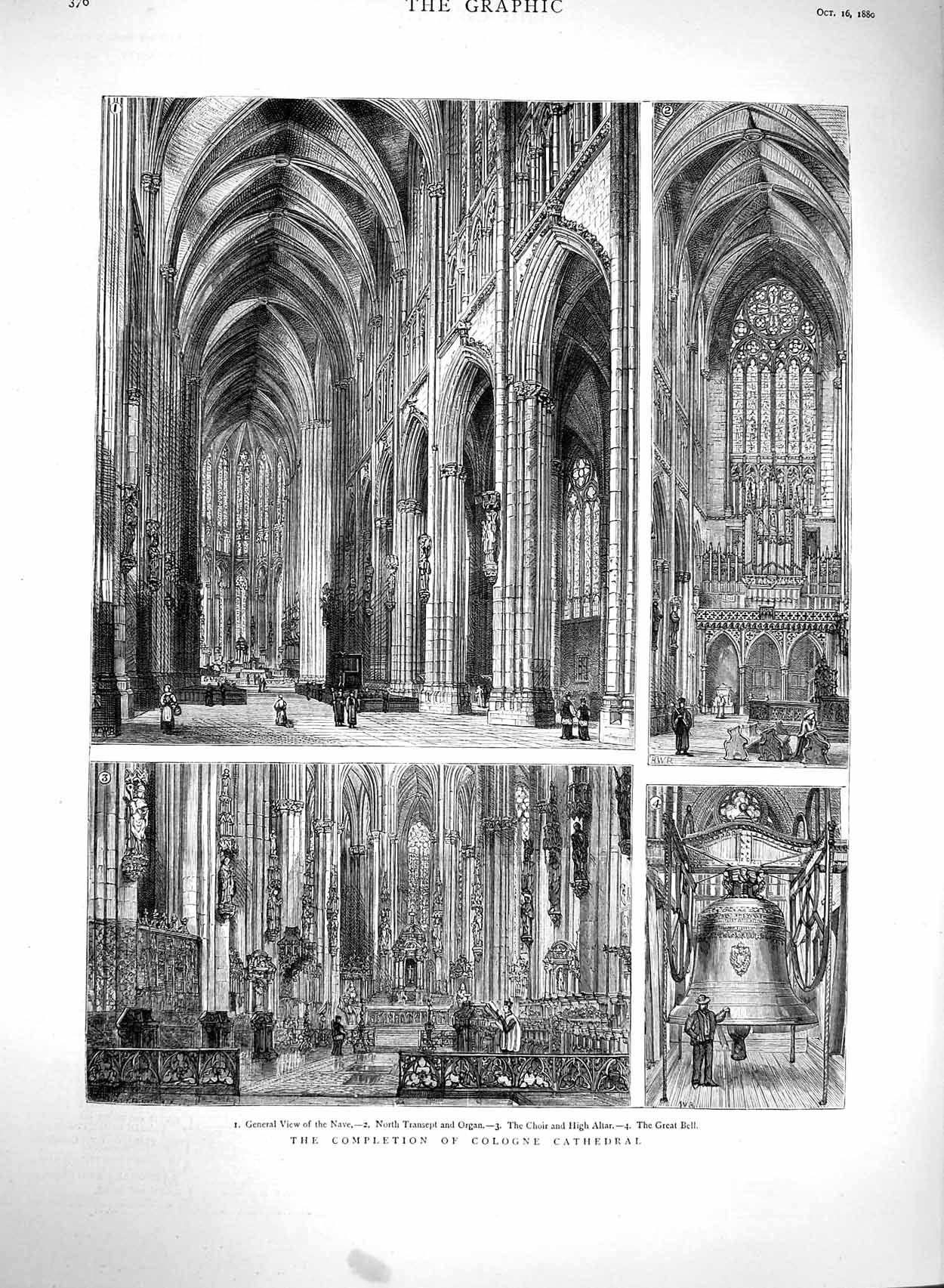 [Print 1880 Cologne Cathedral Architecture Transept Organ 376M122 Old Original]