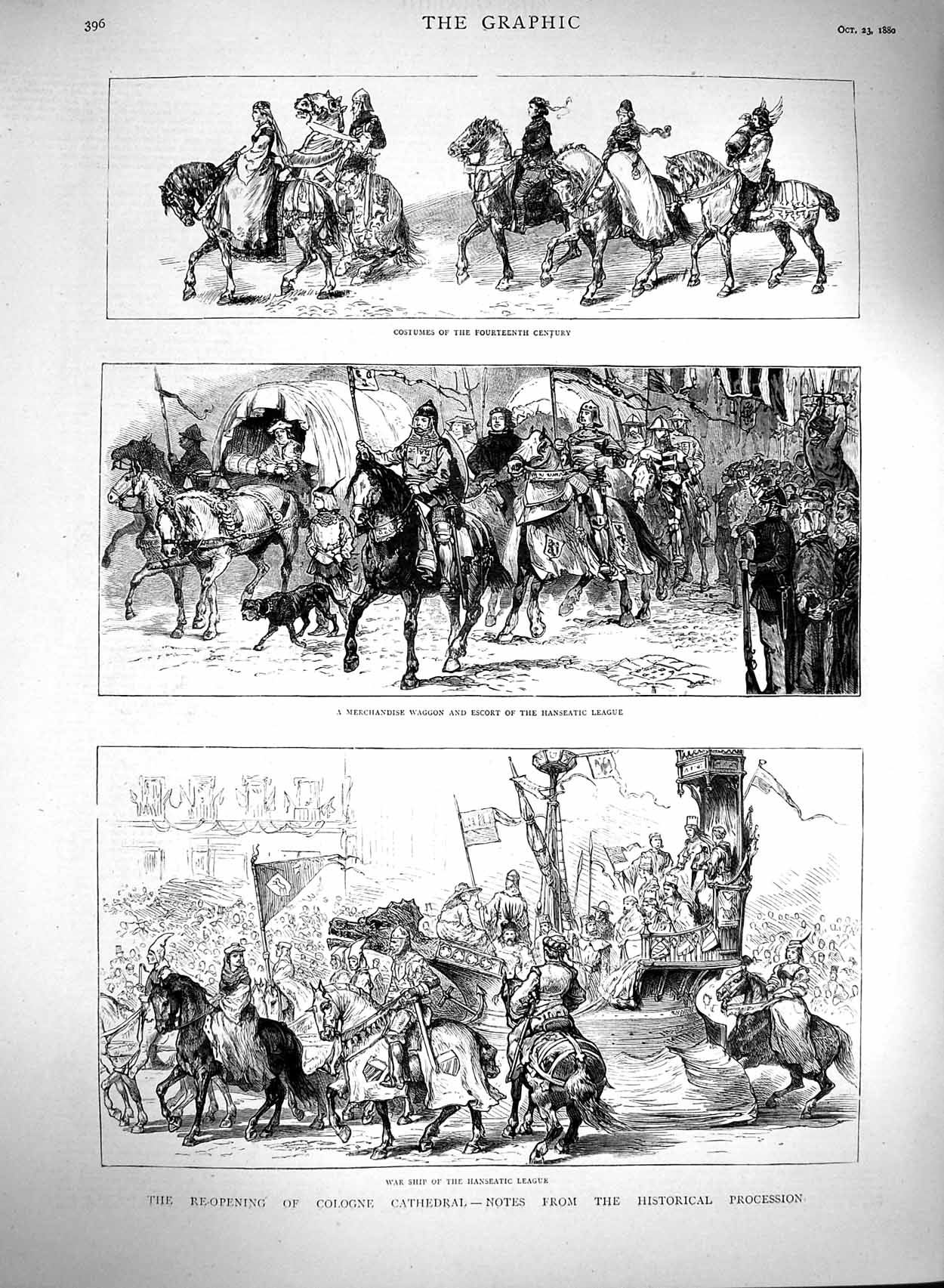 [Print 1880 Cologne Cathedral Historical Procession Hanseatic 396M122 Old Original]