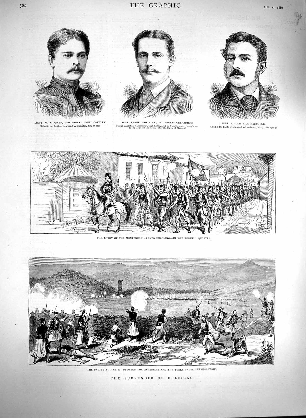 [Print 1880 Dulcigno War Owen Whittuck Rice Henn Soldiers 580M122 Old Original]