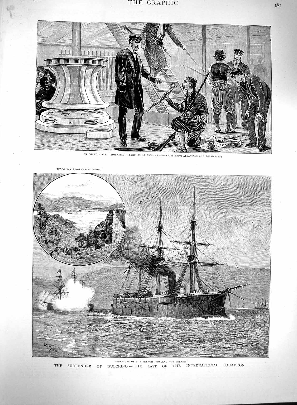 [Print 1880 French Ship Friedland Monarch Castel Nuovo War 581M122 Old Original]