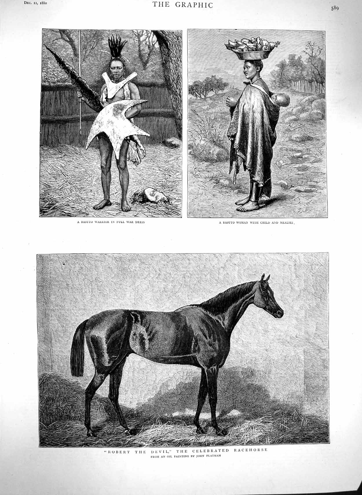 [Print 1880 Robert Devil Race Horse Basuto Warrior War Dress 589M122 Old Original]