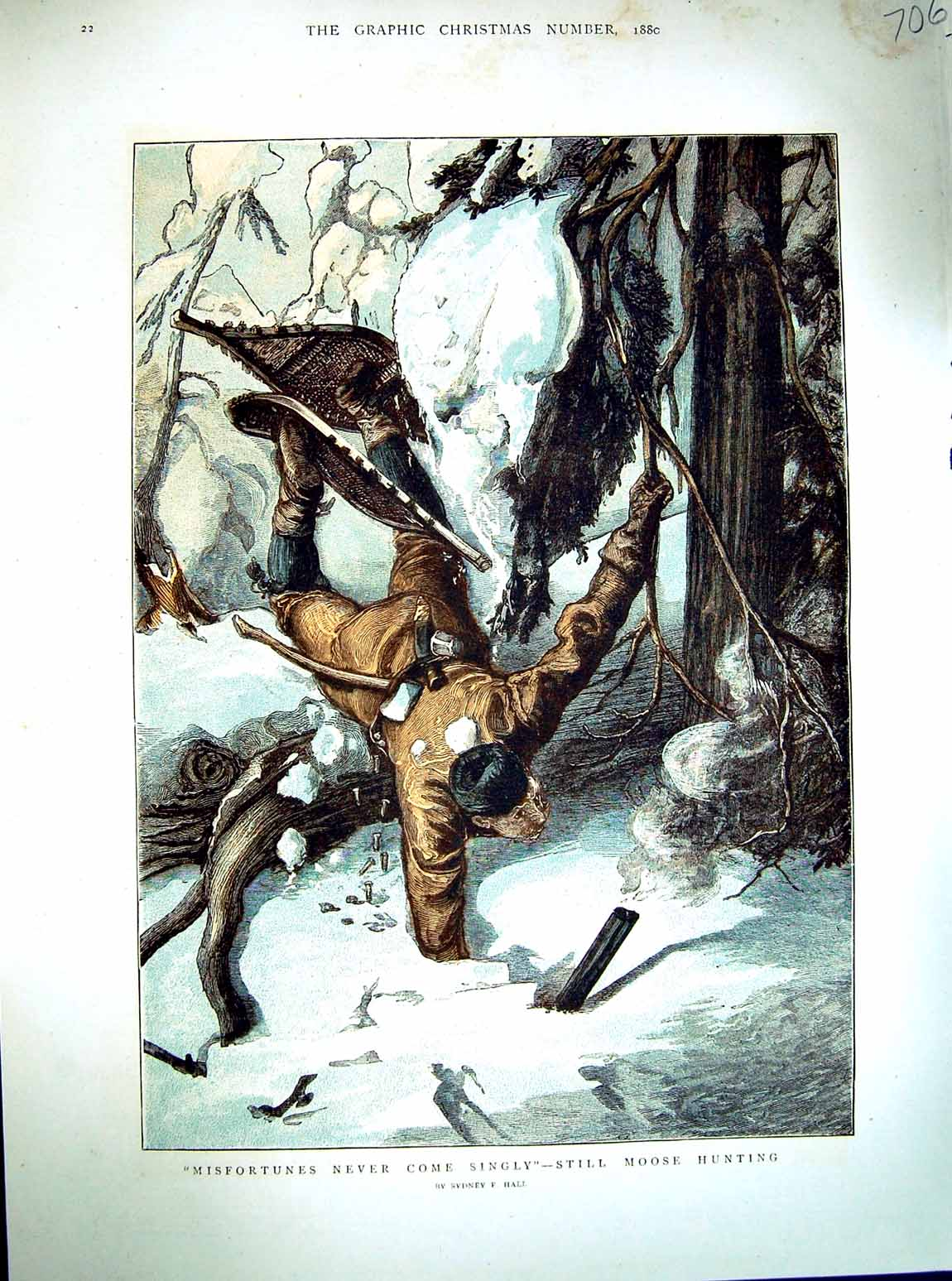 [Print 1880 Colour Moose Hunting Snow Winter Country 706M122 Old Original]