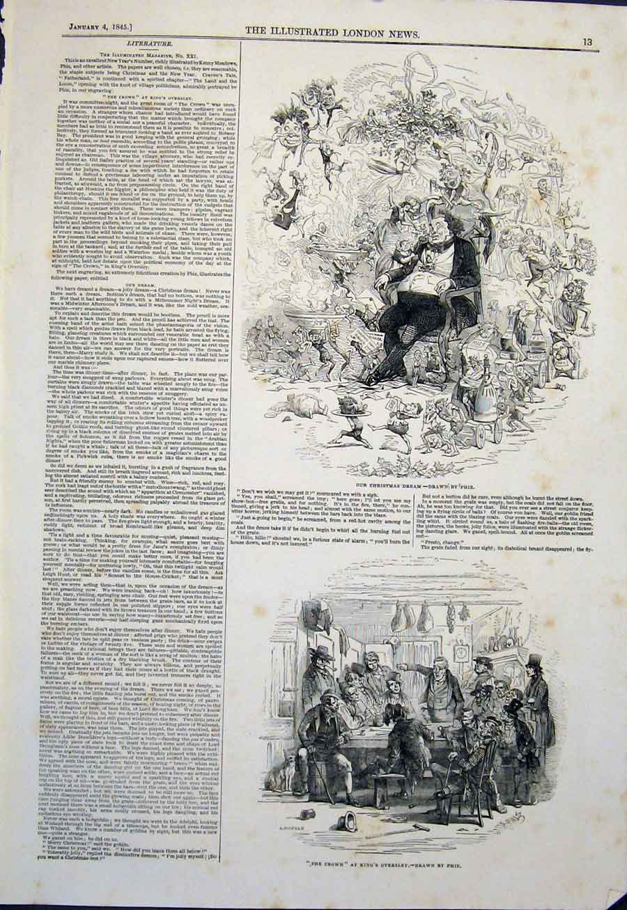 Print Christmas Dream Phiz Crown Oversley Sketch 1845 13Maa0 Old Original