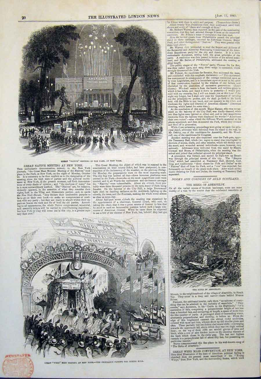 Print Park New York Whig Meeting Gothic Hall Birks Aberfeldy 20Maa0 Old Original
