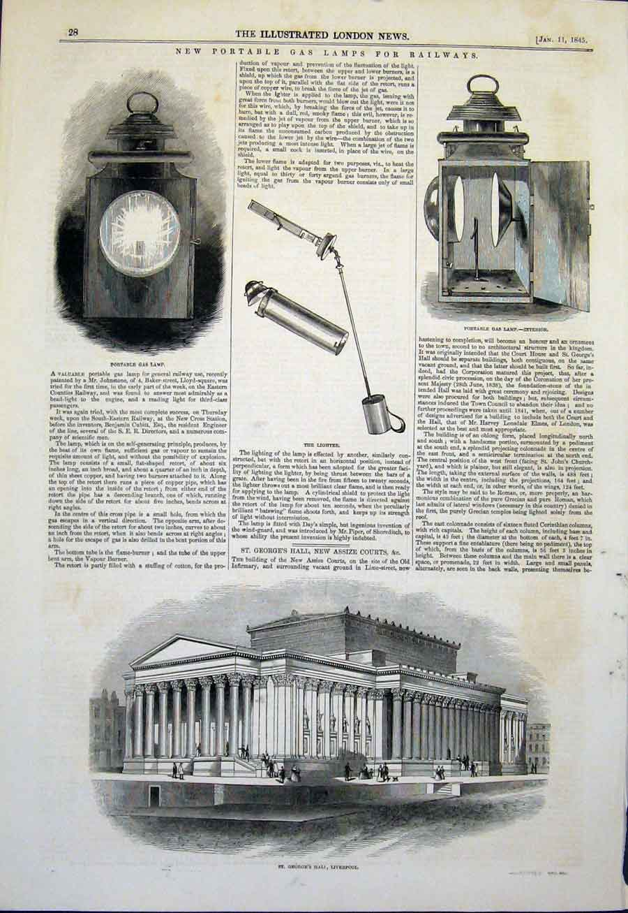 Print Portable Gas Lmaps Railway St George'S Hall Liverpool 28Maa0 Old Original
