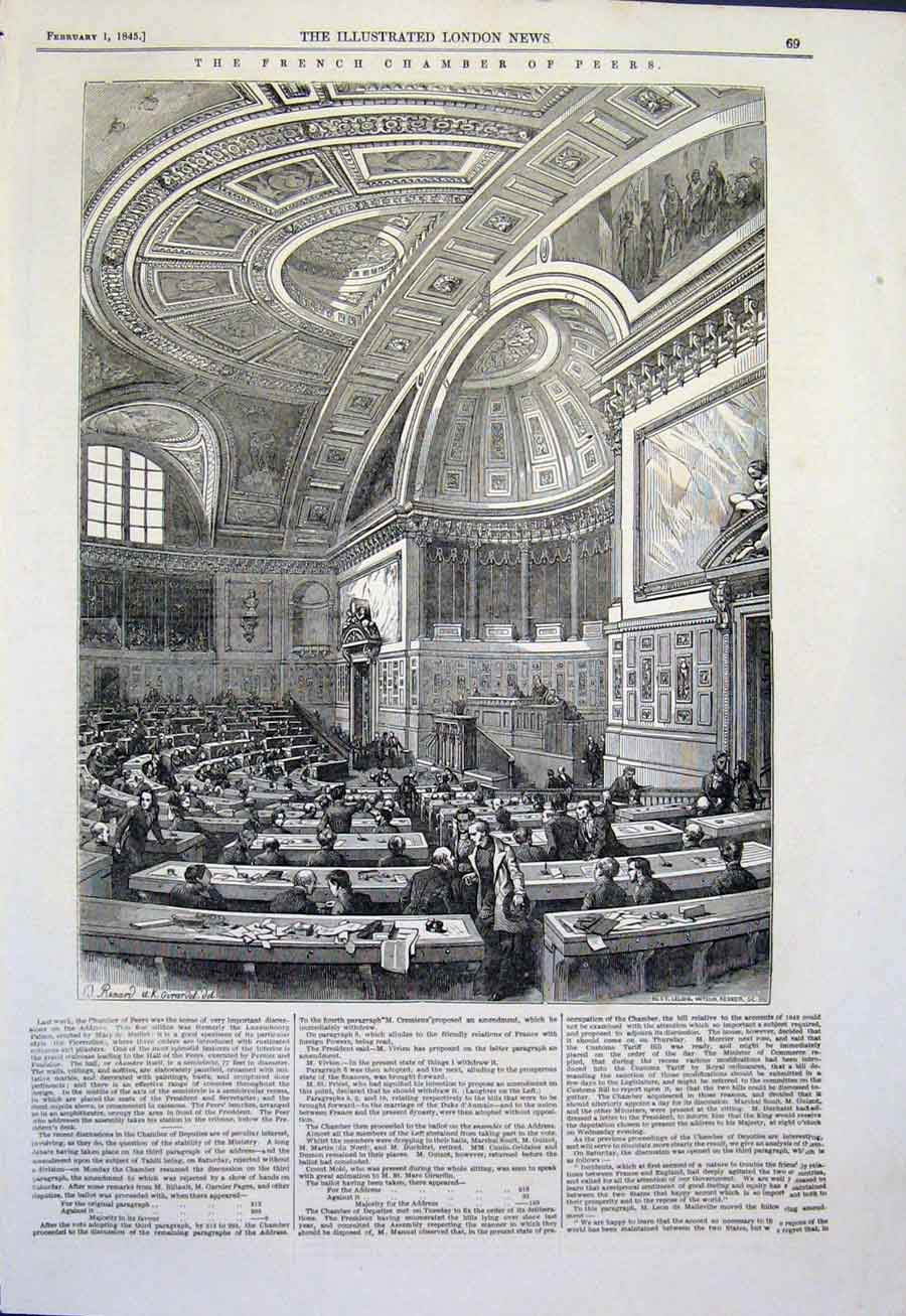 Print French Chamber Peers Parliament 1845 69Maa0 Old Original