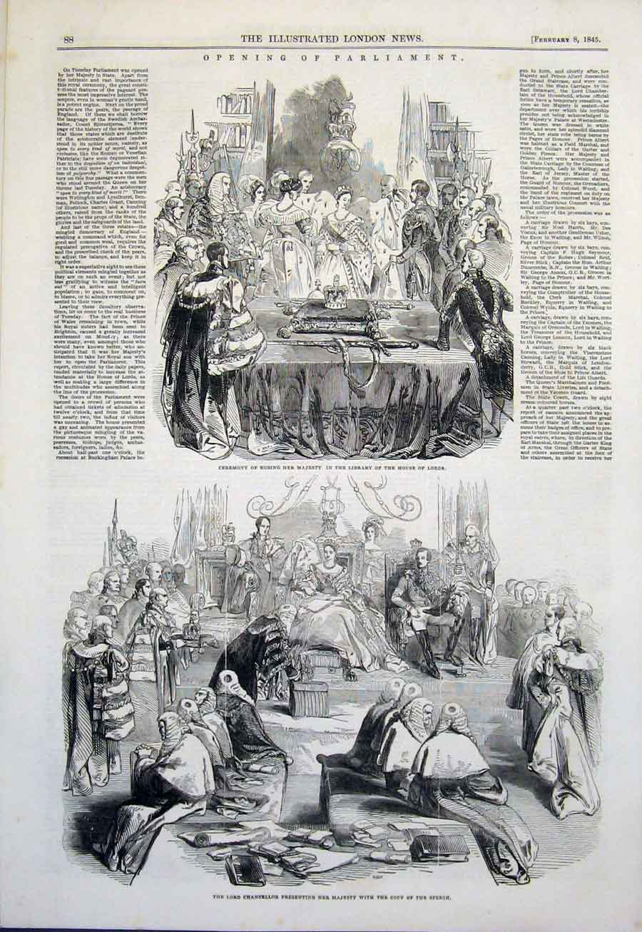 Print Parliament House Lords Chancellor Benches Commons 1845 88Amaa0 Old Original