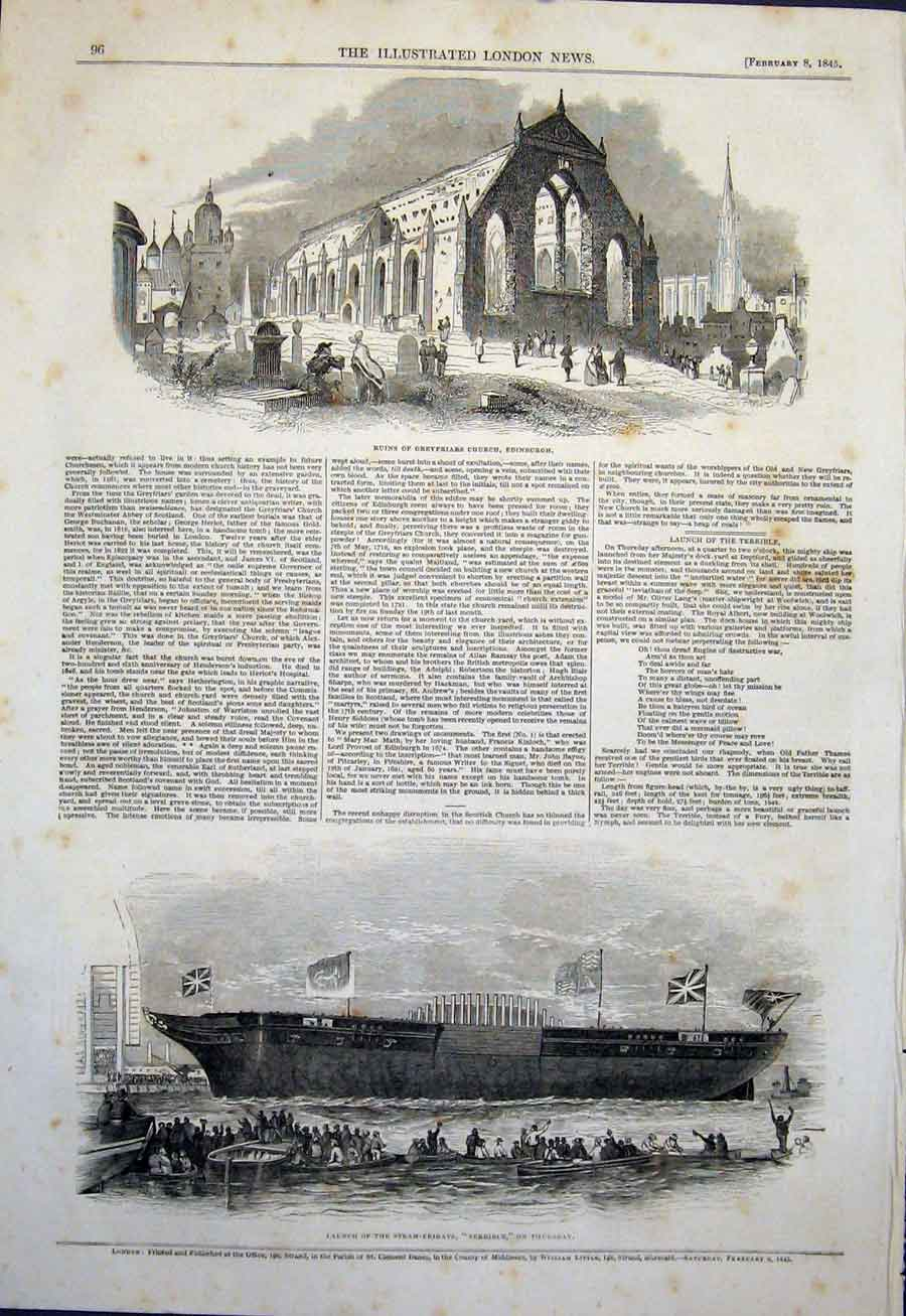 Print Greyfriars Church Edinburgh Steam Frigate Terrible 1845 96Maa0 Old Original