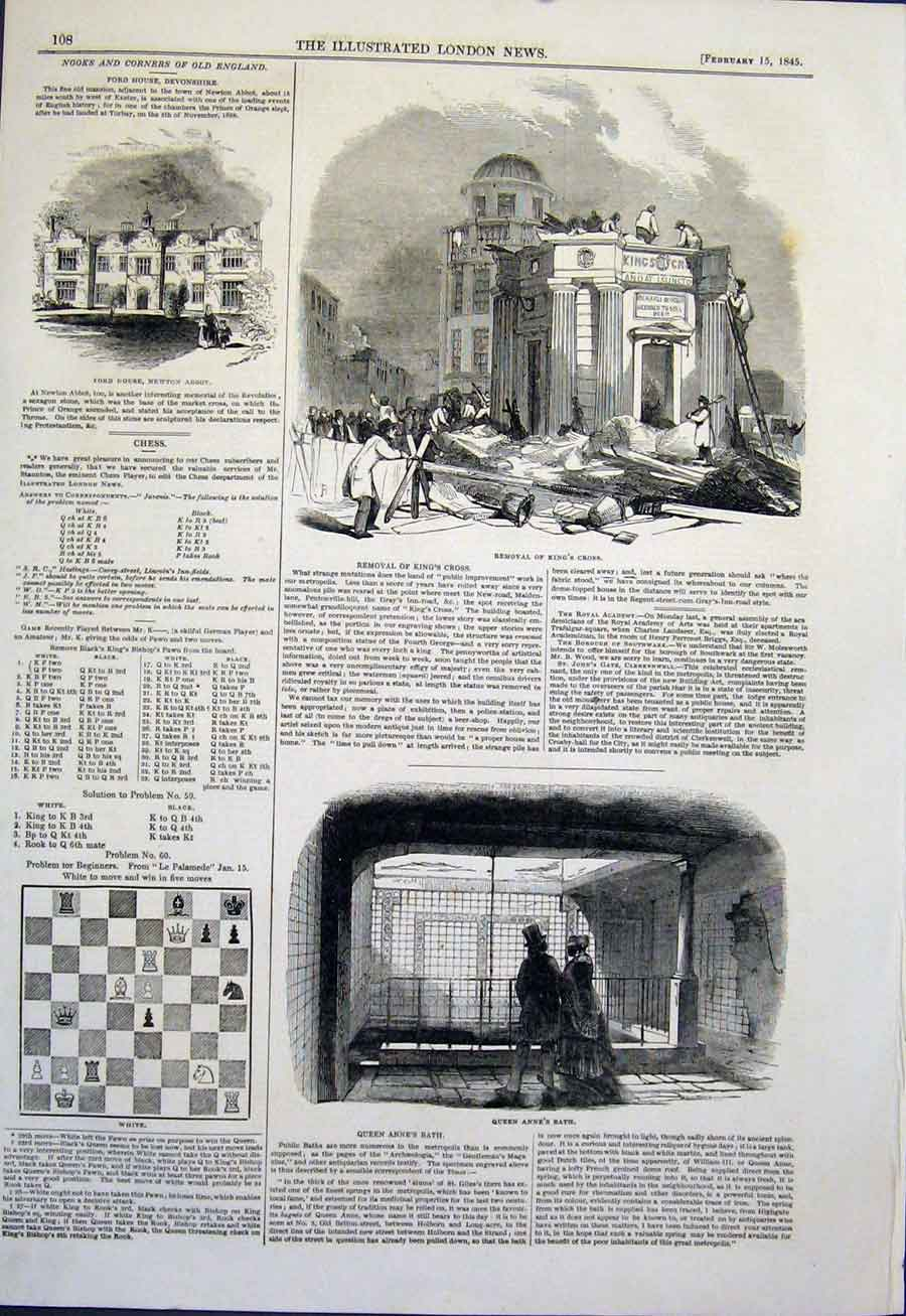Print Ford House Devonshire King'S Cross Bath Newton Abbot 08Maa0 Old Original