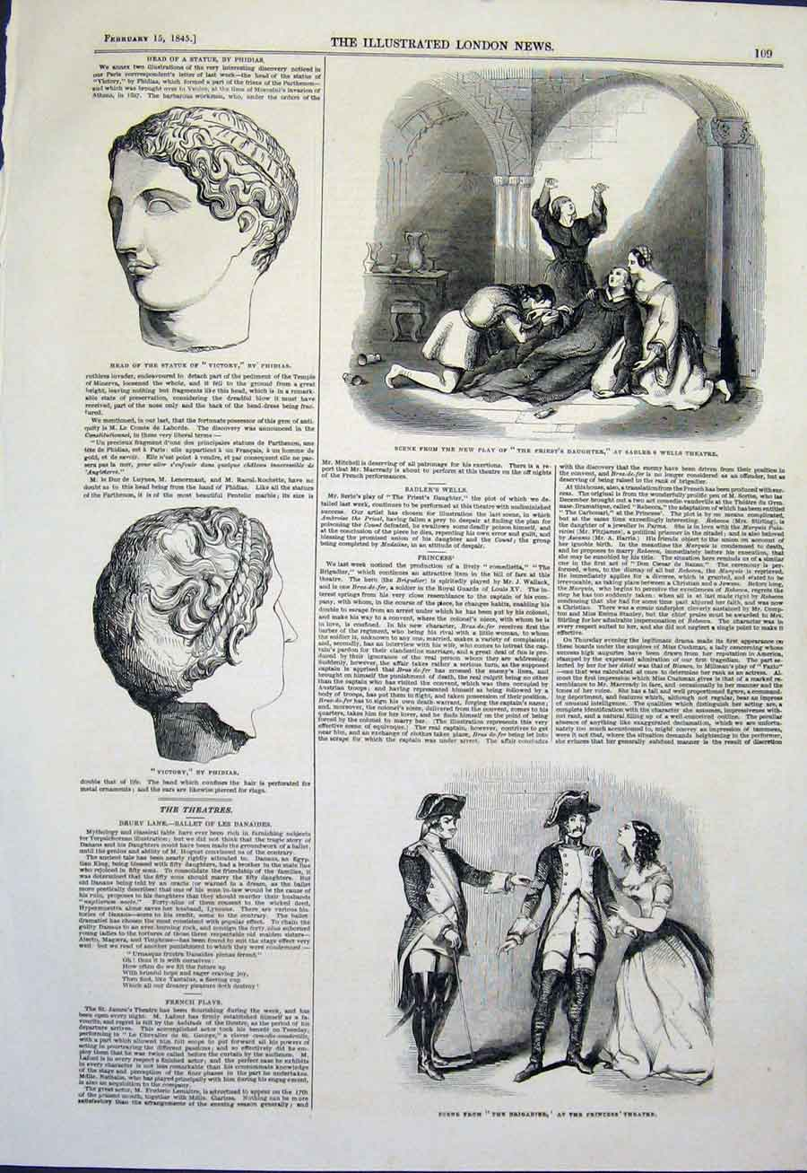 Print Saddler'S Wells Theatre Phidias Bust Statue 1845 09Maa0 Old Original