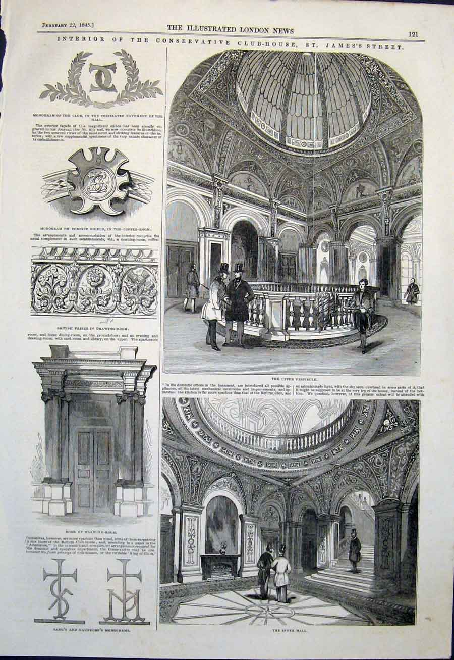 Print Club House St James'S Street Conservative Vestibule 21Maa0 Old Original