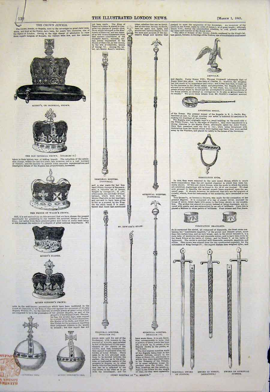 Print Crown Jewels Cellartankard Spoon Crown Sword 1845 32Amaa0 Old Original