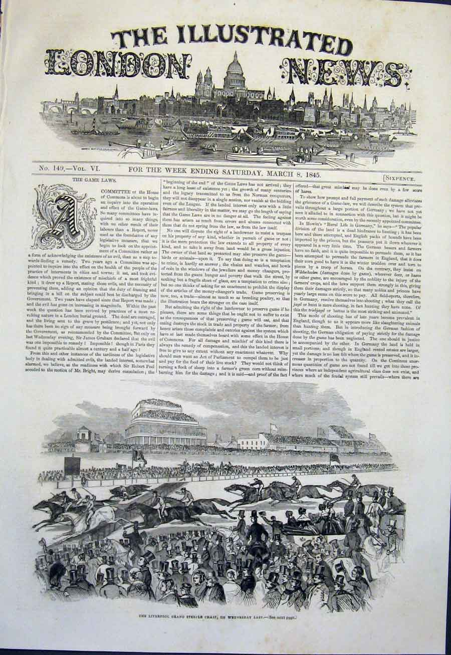 Print Liverpool Steeple Chase Horses Race 1845 46Maa0 Old Original
