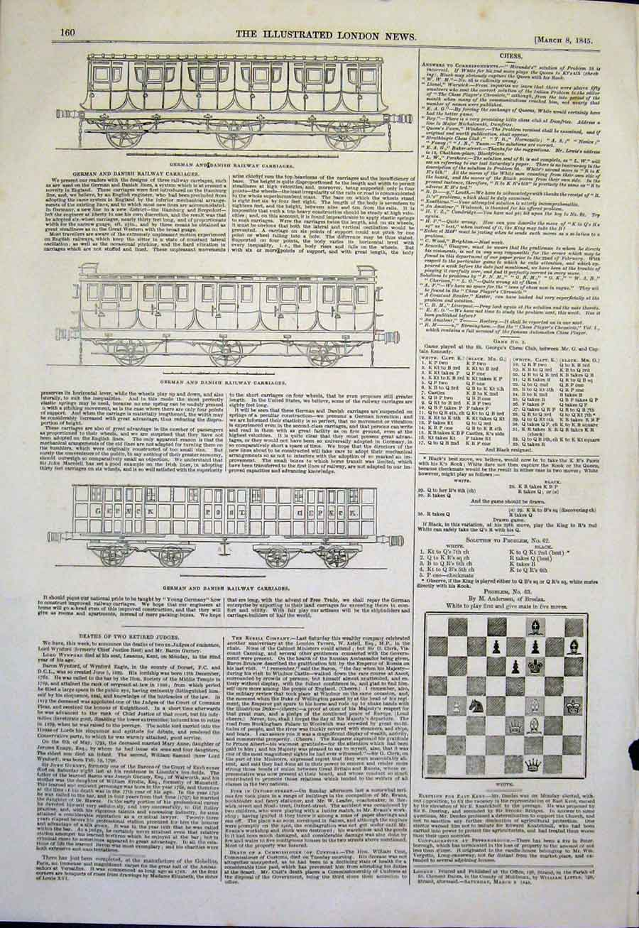 Print Chess Solutions Railway Carriages German Danish 60Maa0 Old Original