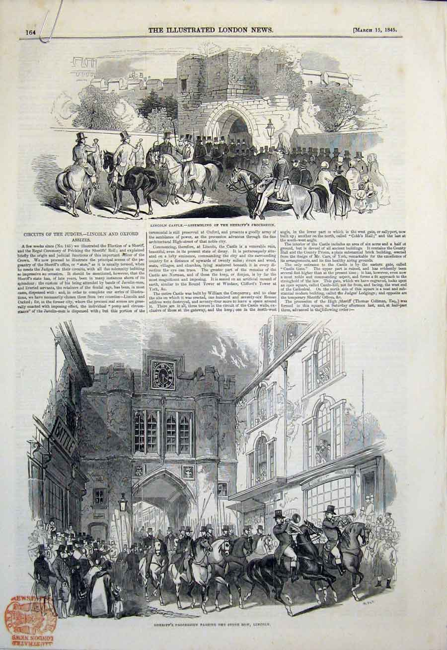 Print Lincoln Castle Sheriff Oxford Assize London 1845 64Amaa0 Old Original