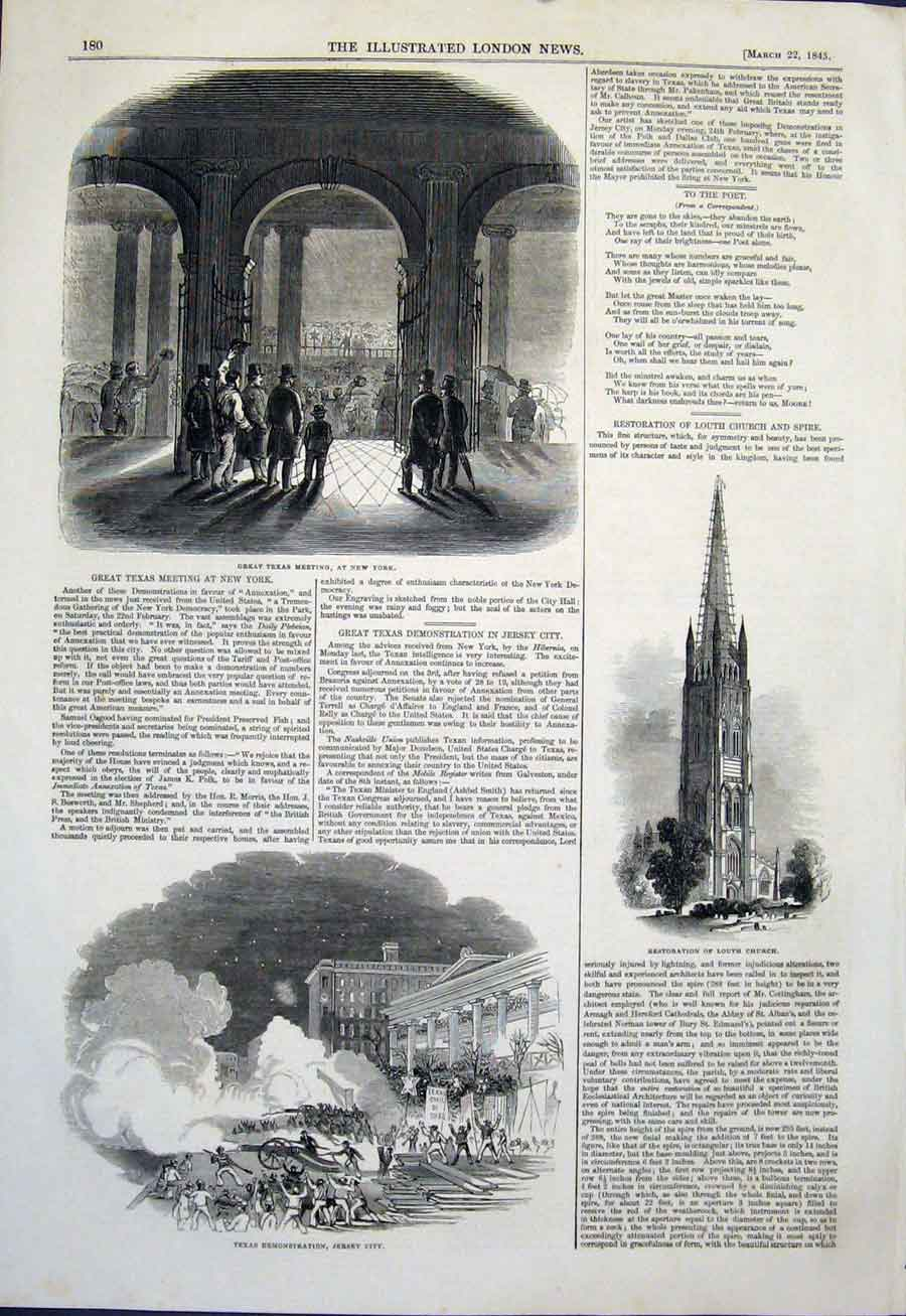 Print Texas Meeting New York Jersey Louth Church City 1845 80Maa0 Old Original