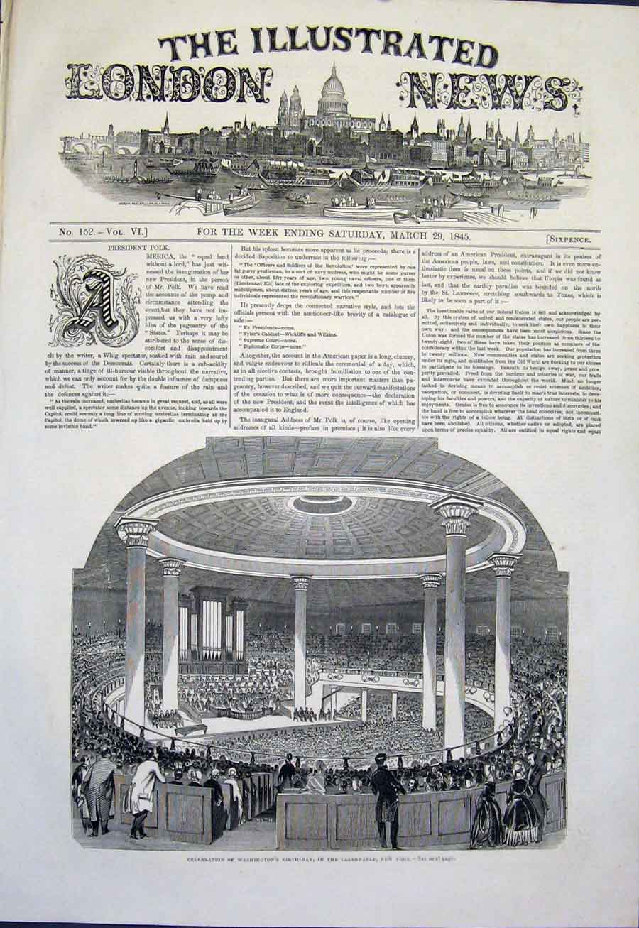 Print Washinton Birthday Tabernacle New York Celebration 1845 94Maa0 Old Original