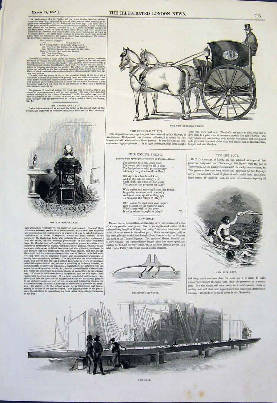Print Curricle Tribus Carriage Lady Life Buoy Boat 1845 05Maa0 Old Original