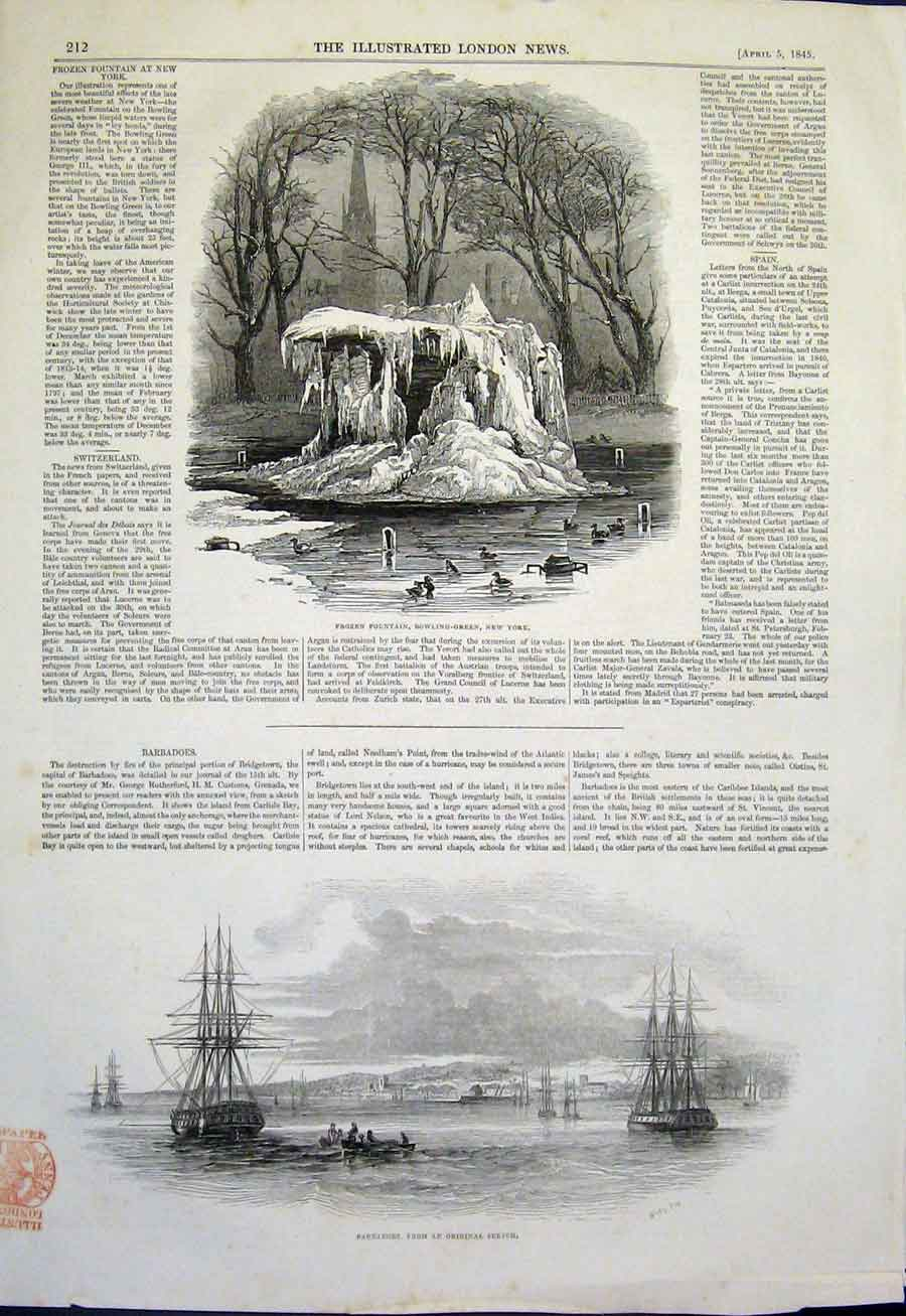 Print Frozen Fountain New York Bowling Green Barbadoes 1845 12Maa0 Old Original