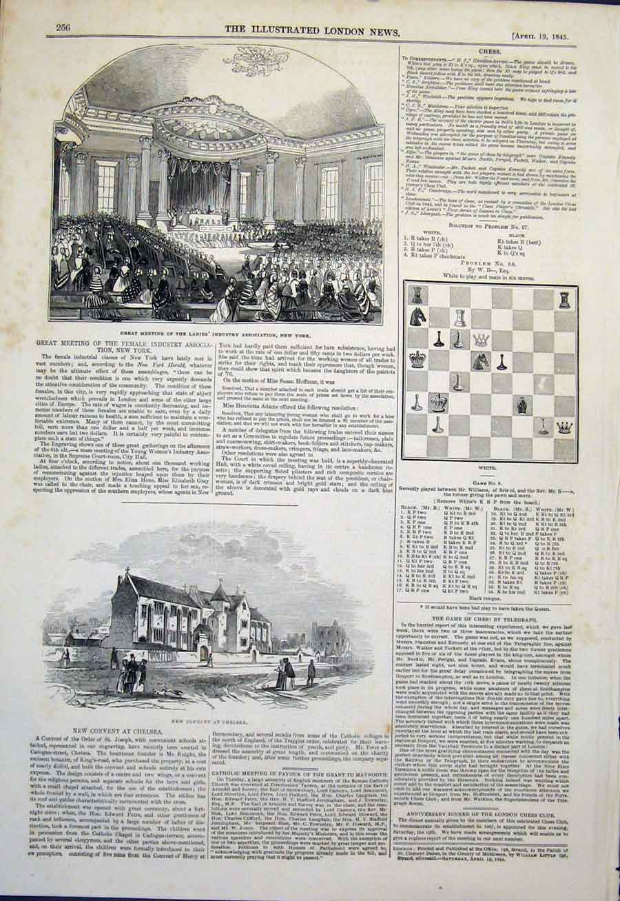 Print Industry New York Chess Convent Chelsea 1845 56Maa0 Old Original
