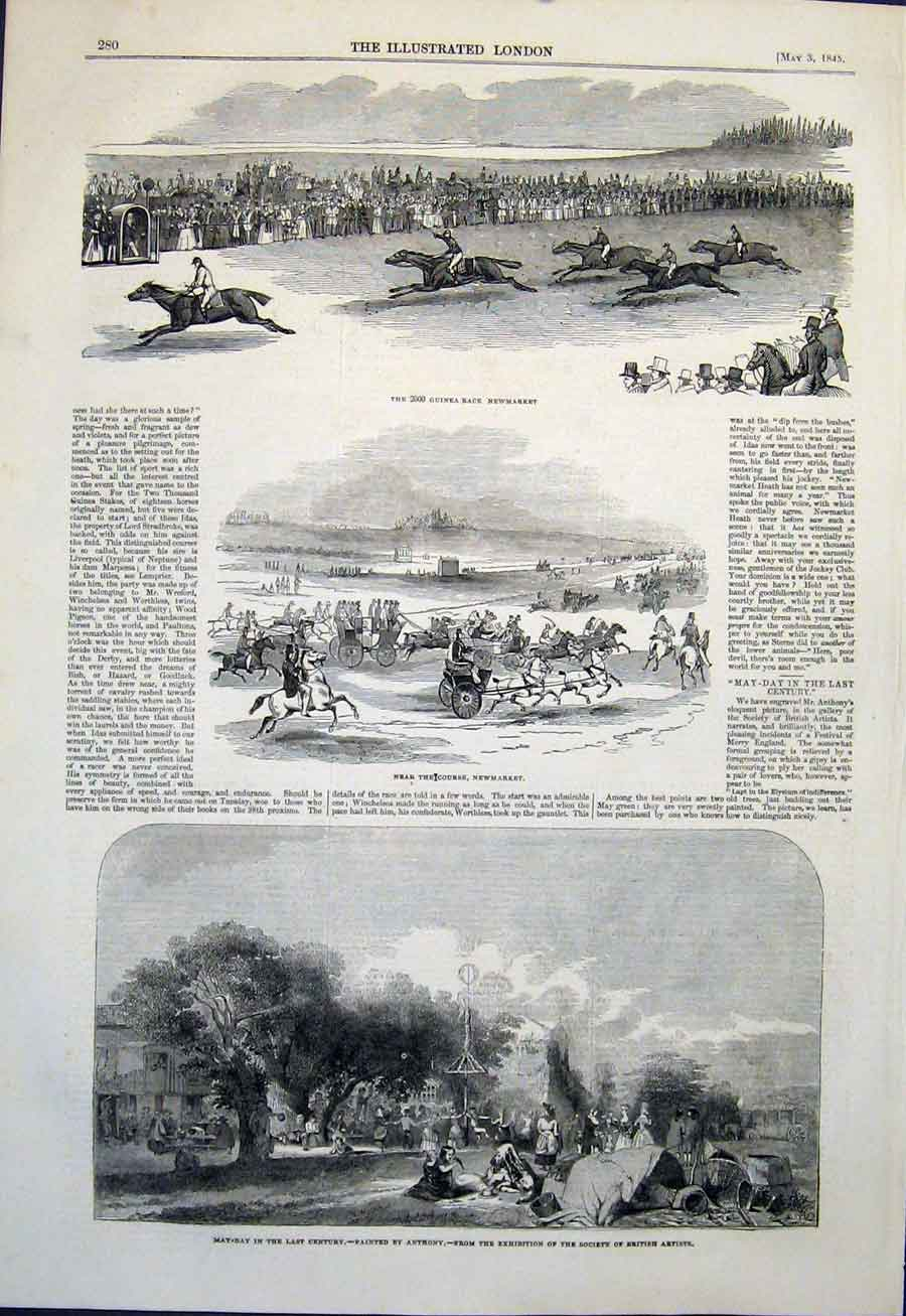 Print Guinea Race Newmarket May-Day Anthony Fine Art 1845 80Maa0 Old Original