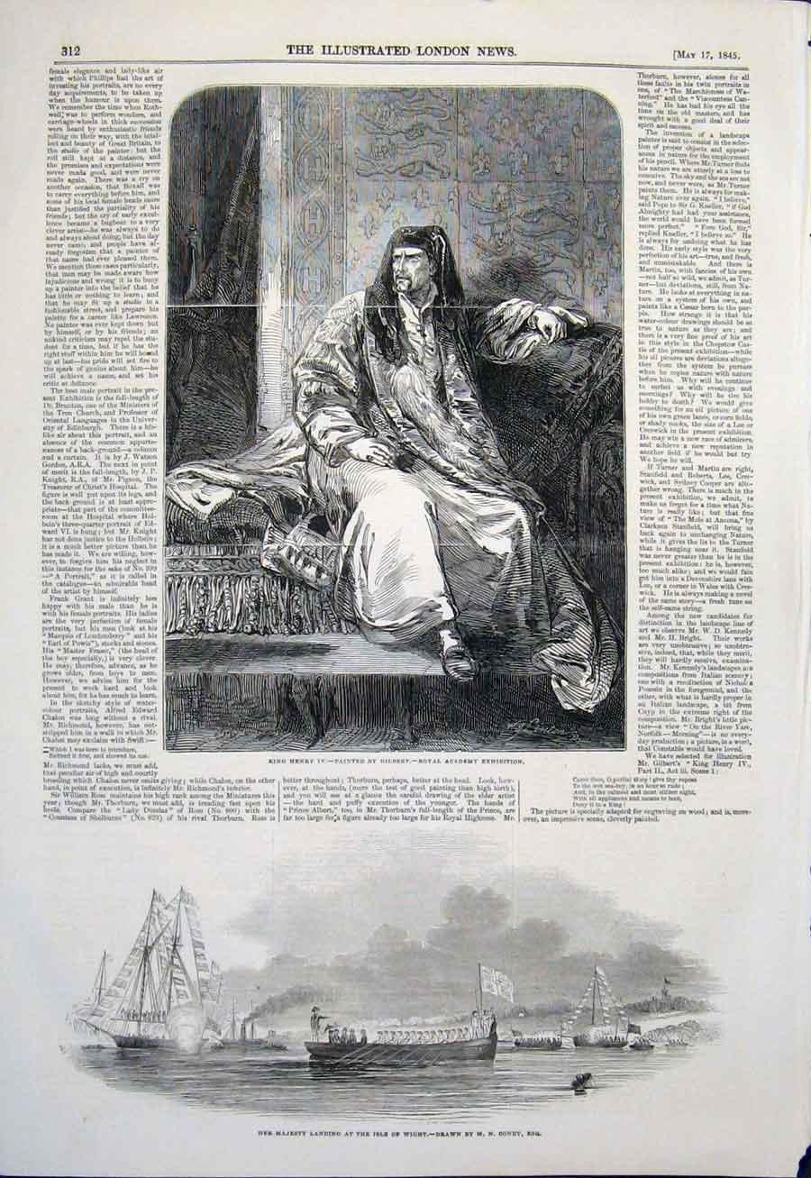 Print Portrait Henry Iv Gilbert Isle Wight Condy Majesty 1845 12Maa0 Old Original