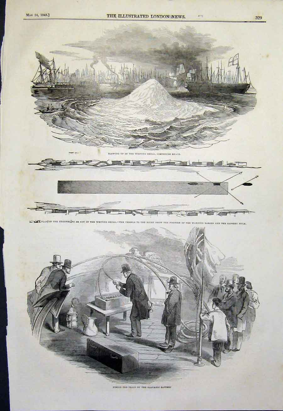 Print Whiting Shoal Limehouse Reach Channel Galvanic Battery 29Maa0 Old Original