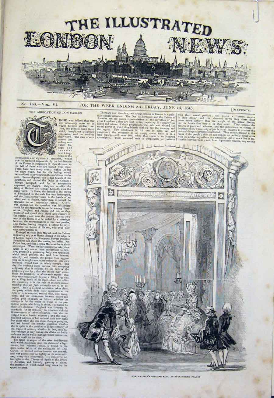 Print Costume Ball Majesty'S Buckingham Palace 1845 73Amaa0 Old Original