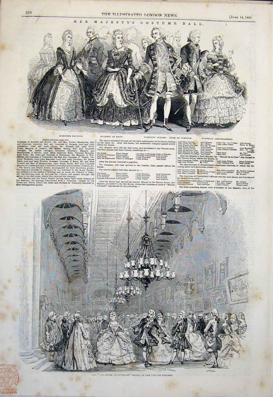 Print Costume Ball Her Majesty'S Buckingham Palace London 76Amaa0 Old Original