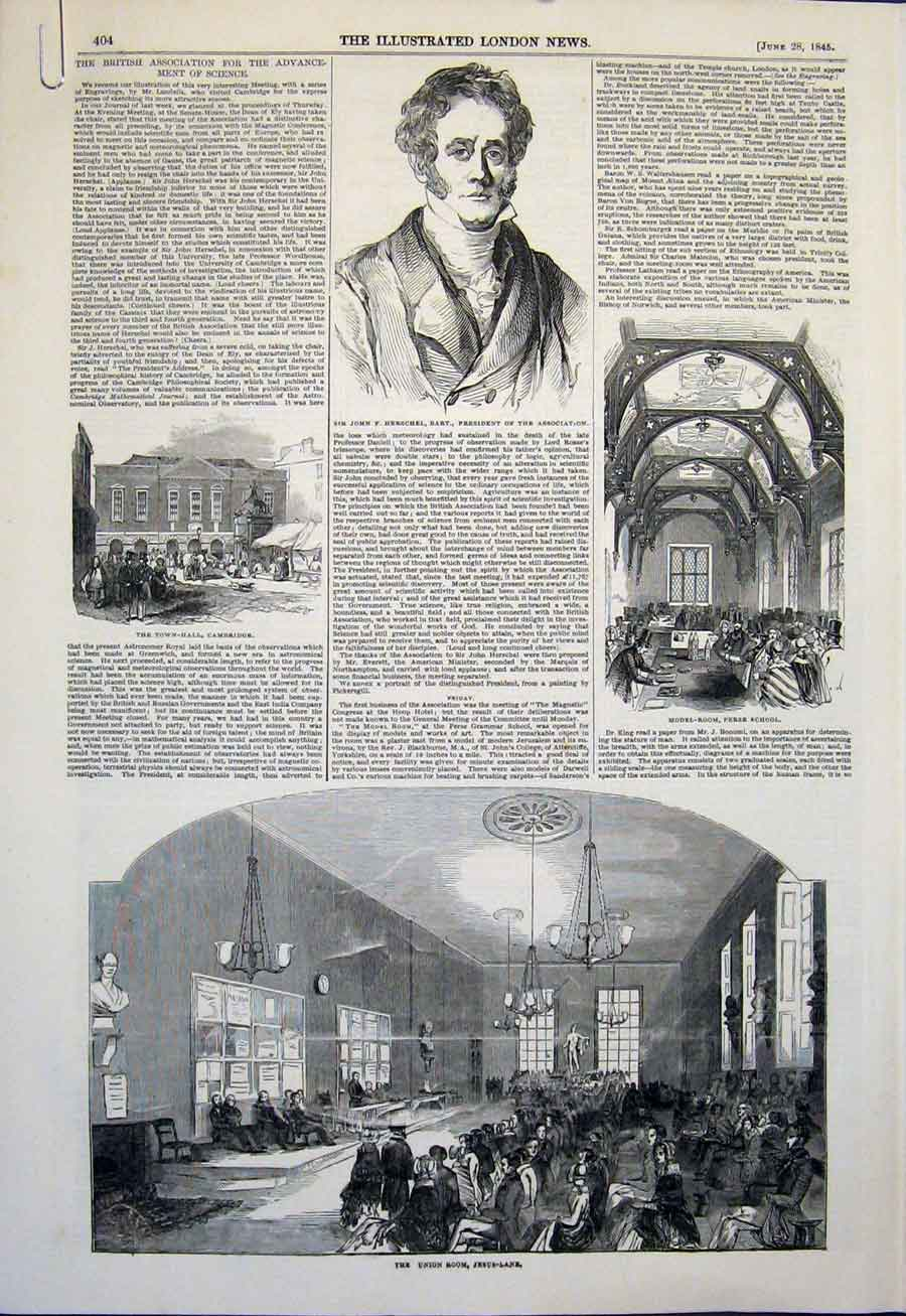 Print Union Jesus Lane Herschel Model Room Cambridge Town 04Amaa0 Old Original
