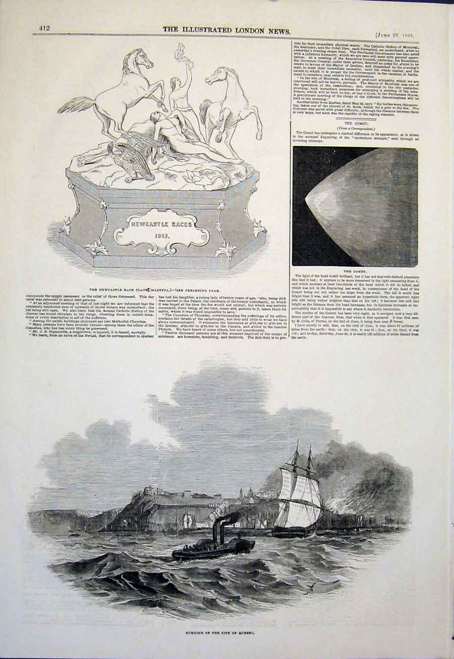 Print Newcastle Race Plate Comet Quebec Fire City 1845 12Maa0 Old Original