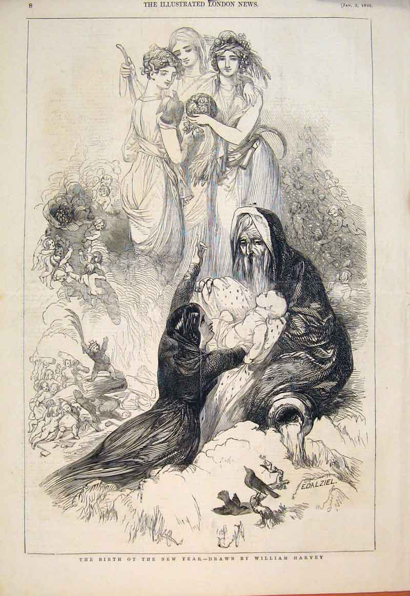 Print Birth New Year William Harvey Fine Art 1846 08Maa0 Old Original