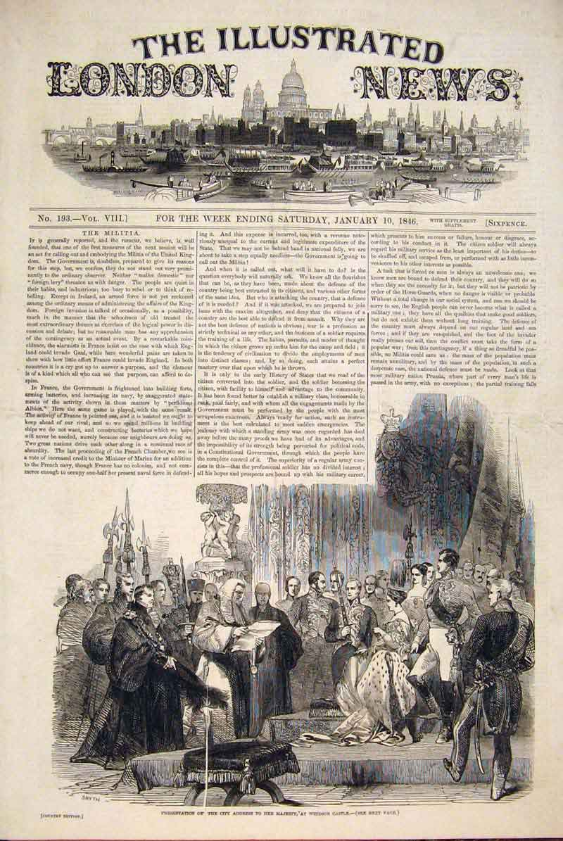 Print Windsor Castle City Address Presentation 1846 18Maa0 Old Original