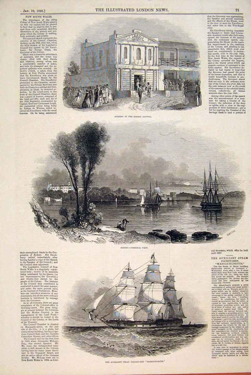 Print Sydney Council View New South Wales Massachusetts Ship 21Maa0 Old Original