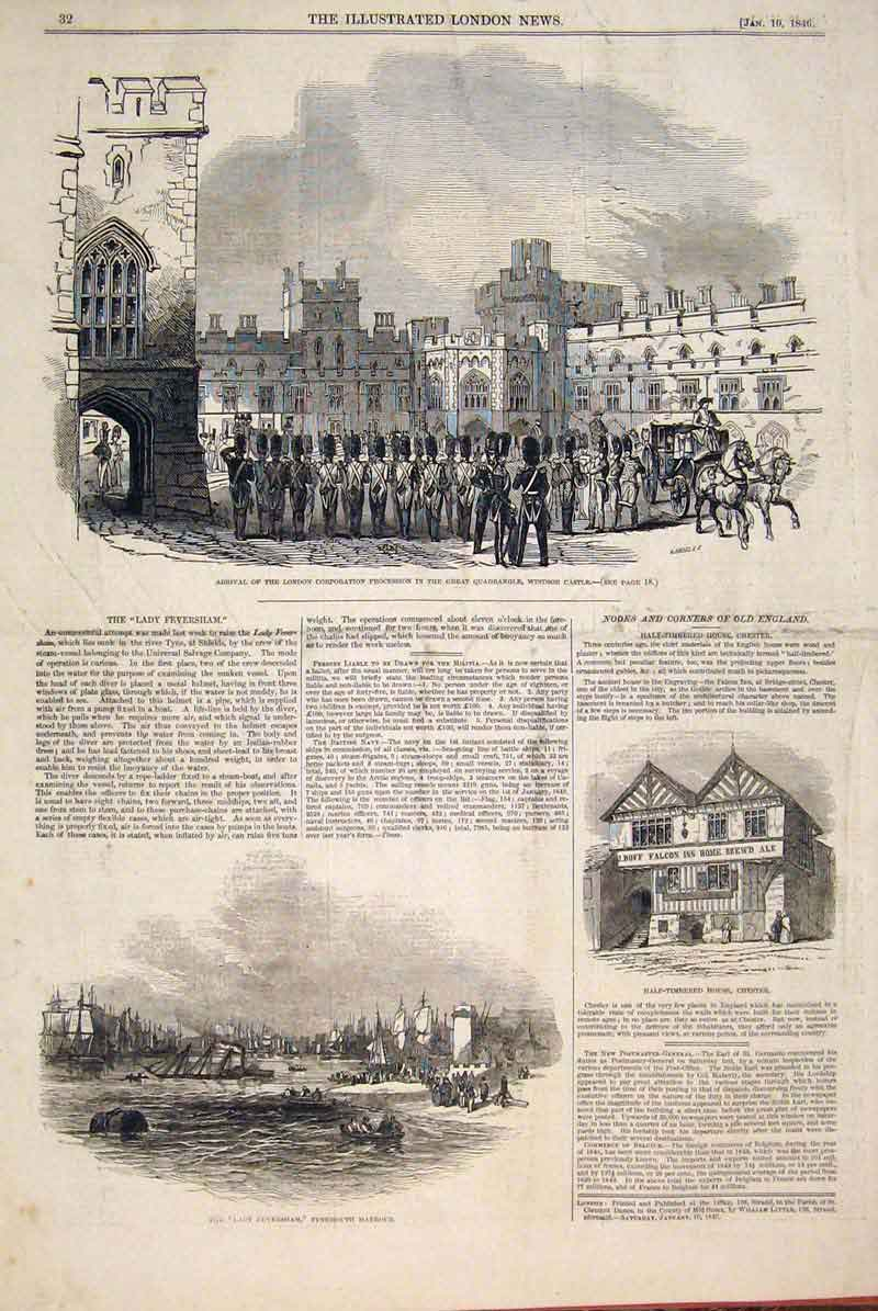 Print Windsor Castle Procession Tynemouth Harbour Chester 32Maa0 Old Original