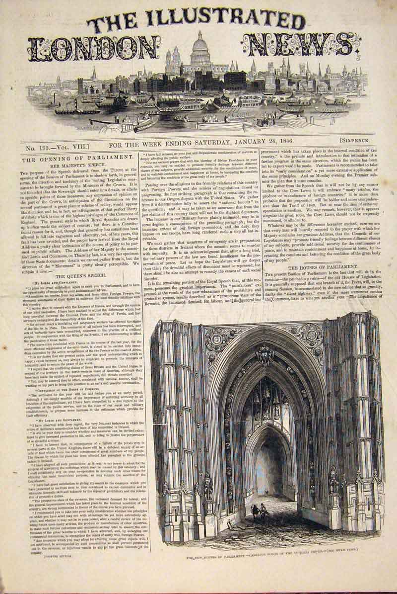 Print Houses Parliament Carriage Porch Victoria Tower 1846 50Maa0 Old Original