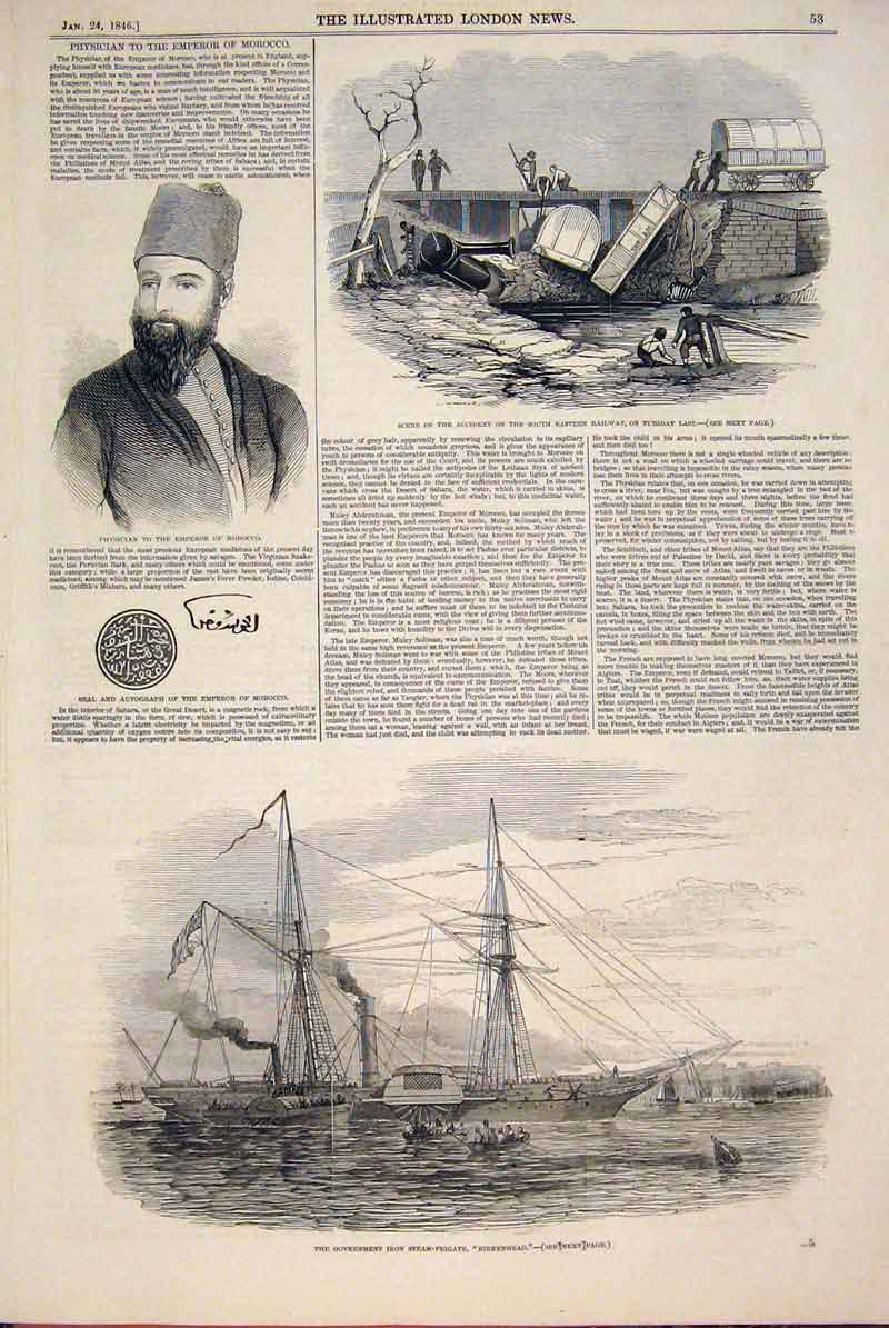 Print Physician Morocco Railway Accident Iron Steam Frigate 53Maa0 Old Original