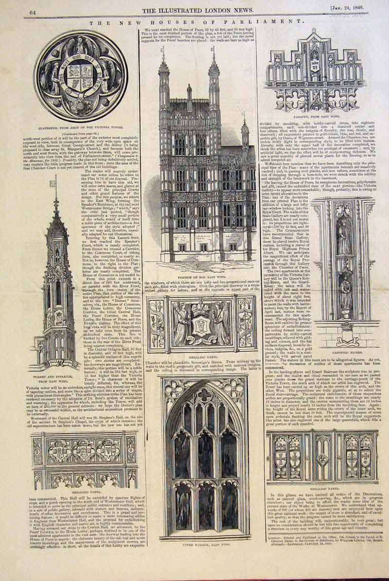 Print Houses Parliament Buildings Window Parapet Arch 1846 64Maa0 Old Original