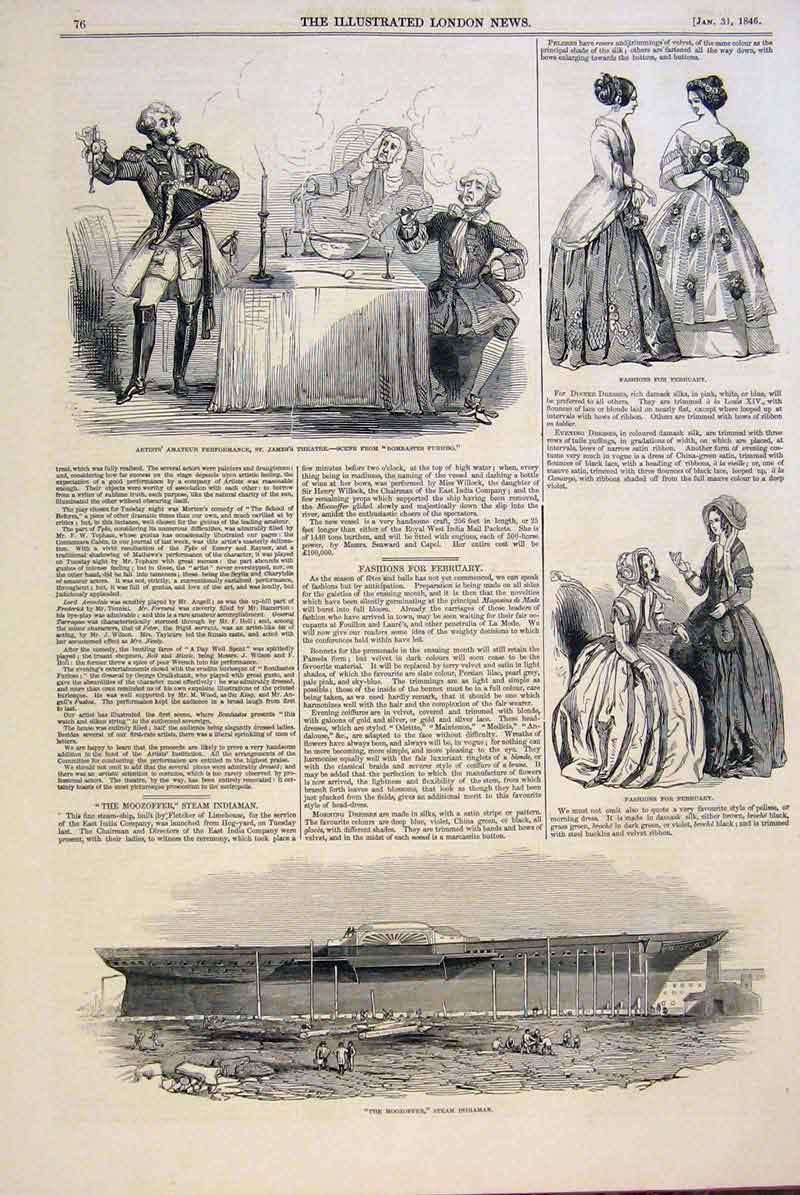Print Theatre Fashion Ladies Moozoffer Steam Indiaman 1846 76Maa0 Old Original
