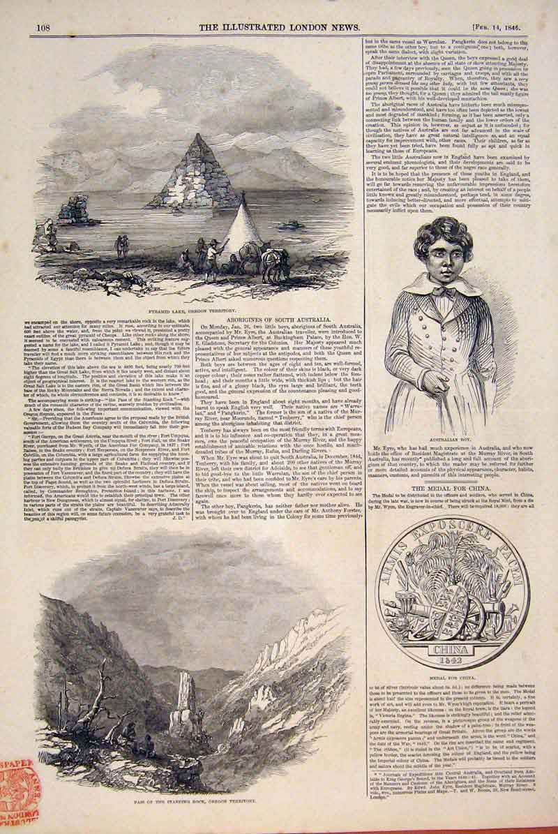 Print Pyramid Lake Oregon America Australian Boy Medal China 08Maa0 Old Original