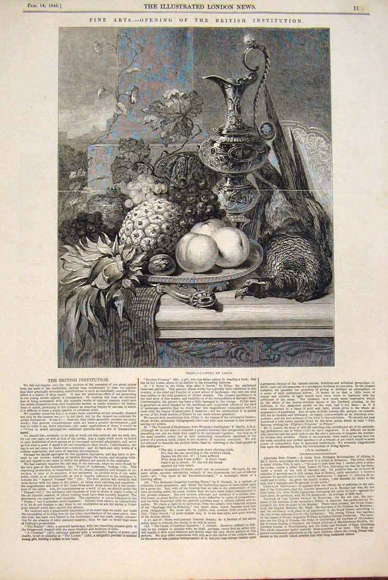 Print Fruit Lance Sill Life Painting Fine Art 1846 13Maa0 Old Original