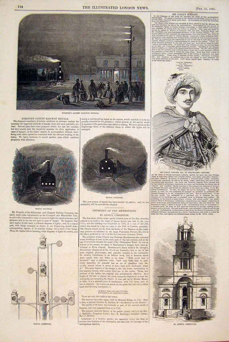 Print Forsyth Patent Railway Signals Diagram Knight Limehouse 24Maa0 Old Original