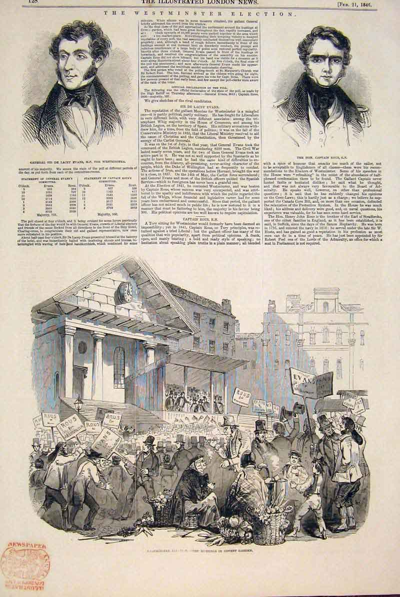 Print Westminster Election Evans Rous Covent Garden 1846 28Maa0 Old Original
