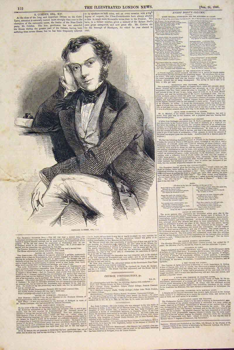 Print Portrait Rishard Cobden Free Trade Party 1846 52Maa0 Old Original