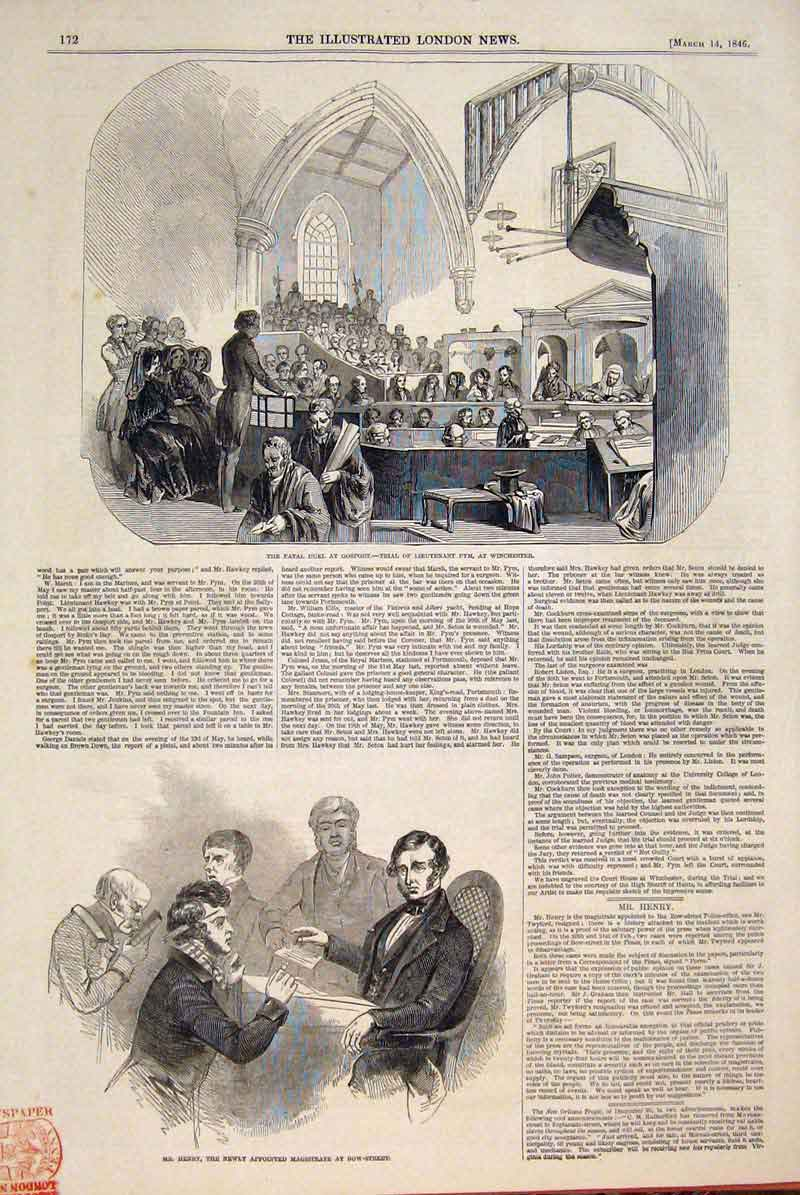Print Gosport Duel Pym Winchester Henry Magistrate Bow 1846 72Maa0 Old Original