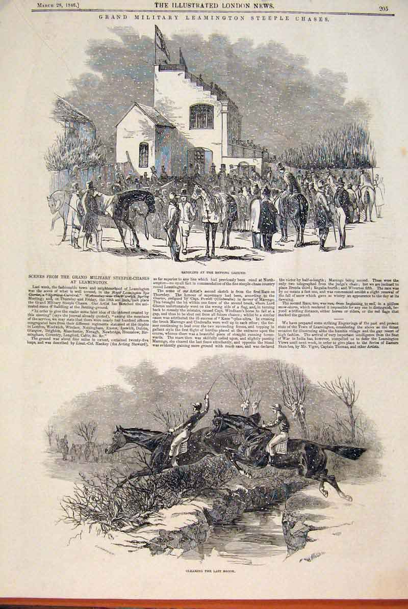Print Grand Military Leamington Steeple Chase Horse 1846 05Maa0 Old Original