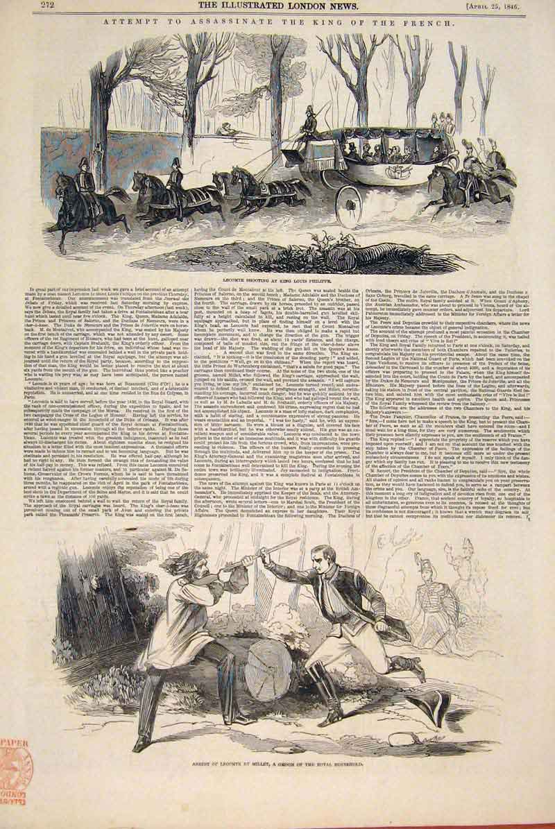 Print Lecomte Millet King Louis Philippe Assasination 1846 72Amaa0 Old Original