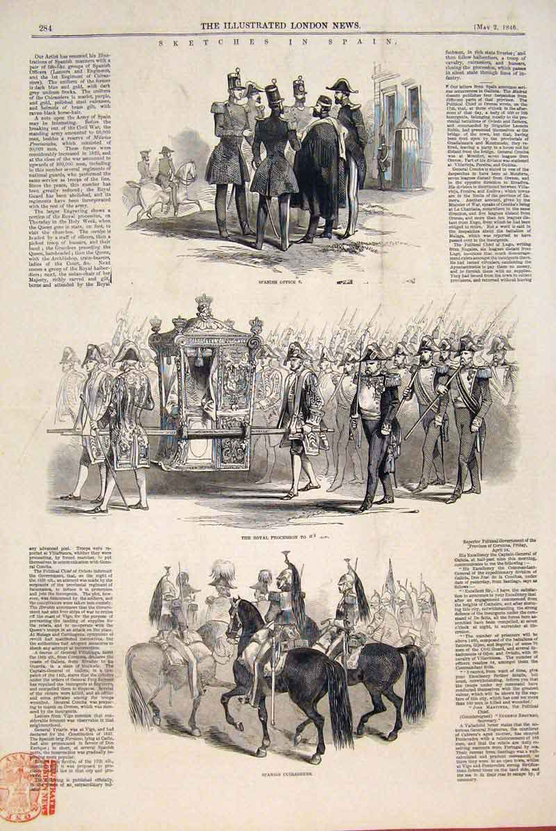 Print Spain Spanish Officers Royal Procession Cuirassier 1846 84Maa0 Old Original