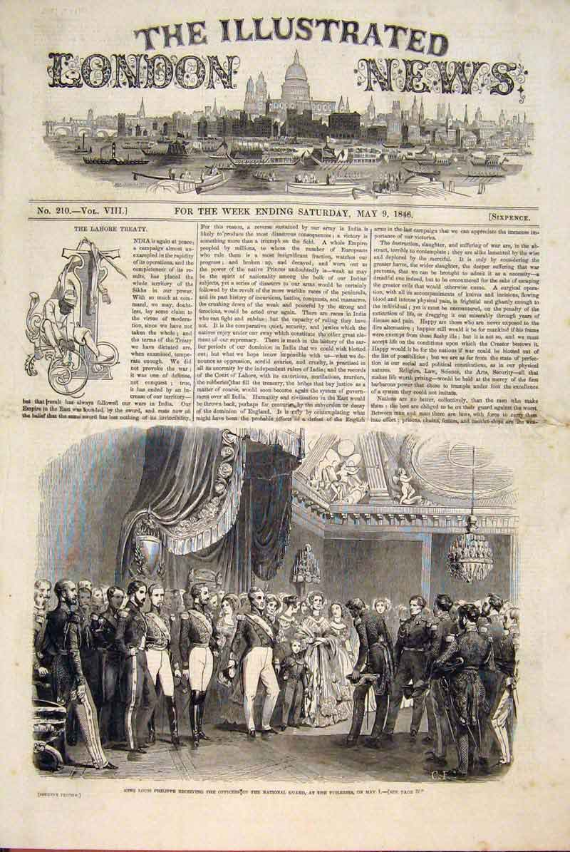 Print King Louis Philippe National Guard Tuileries 1846 98Maa0 Old Original