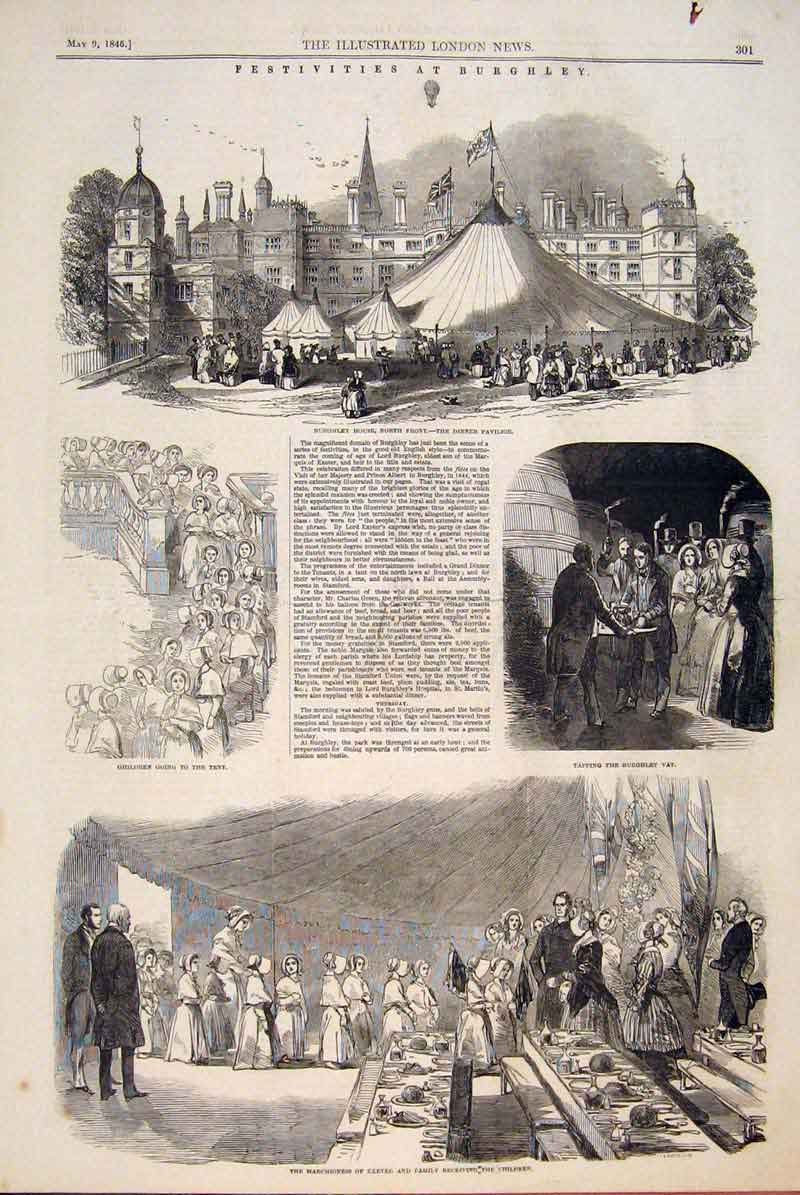 Print Festivities Burghley Vat Exeter Marchioness Sketch 1846 01Maa0 Old Original